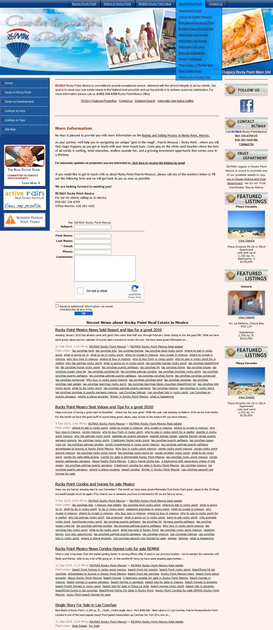 Remax Real Estate in Rocky Point (Puerto Penasco). Click here to visit Remax's website