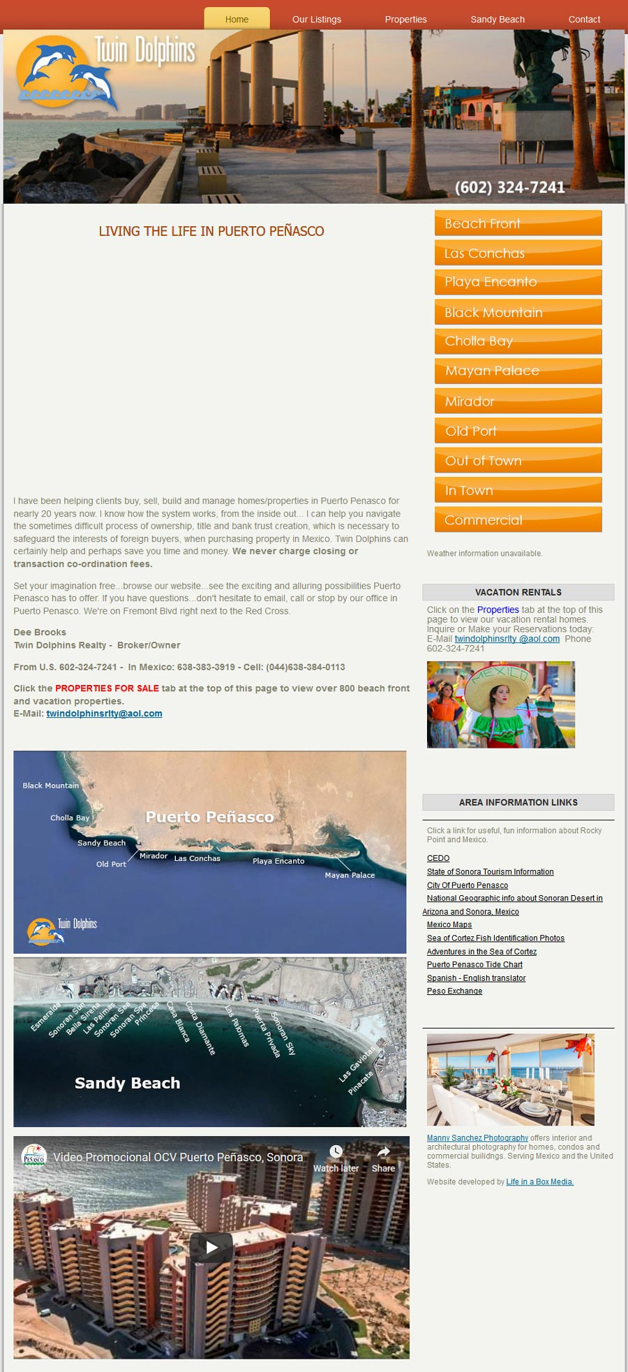 Twin Dolphins Real Estate in Rocky Point (Puerto Penasco). Click here to visit Twin Dolphins' Real Estate website