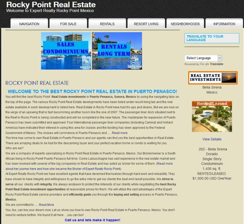 Expert Realty Real Estate in Puerto Penasco (Rocky Point Mexico). Click here to visit Expert Realtys' website.