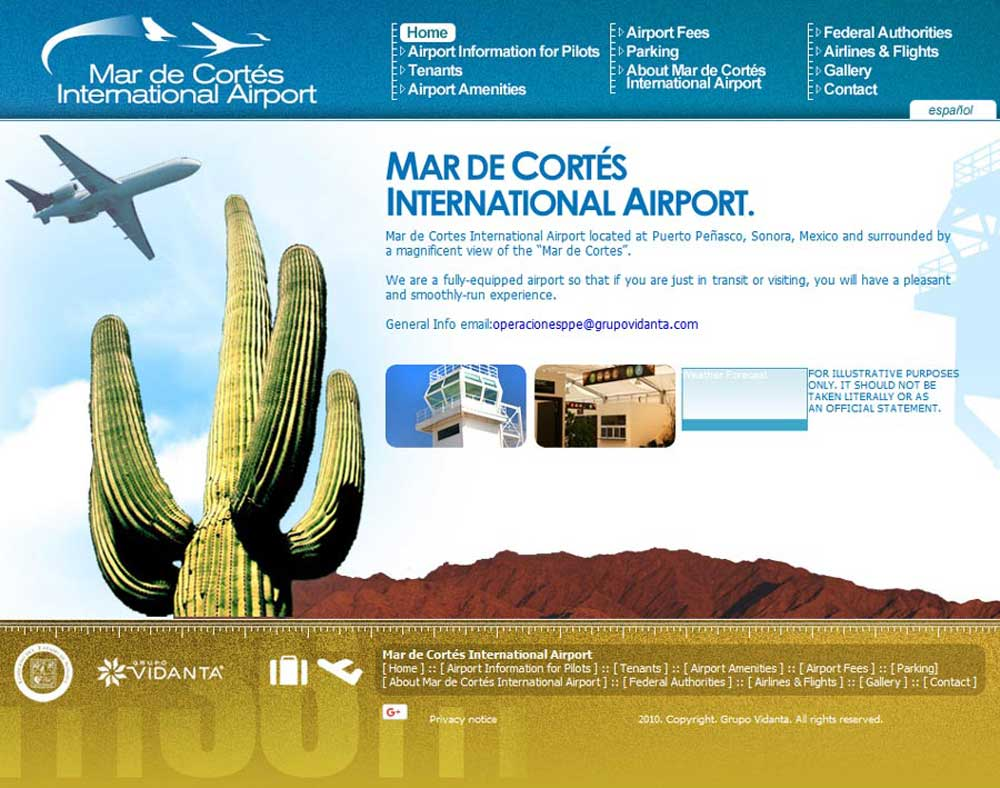 Mar De Cortes Airport in Puerto Penasco (Rocky Point Mexico). Click here to visit the Mar De Cortes website.