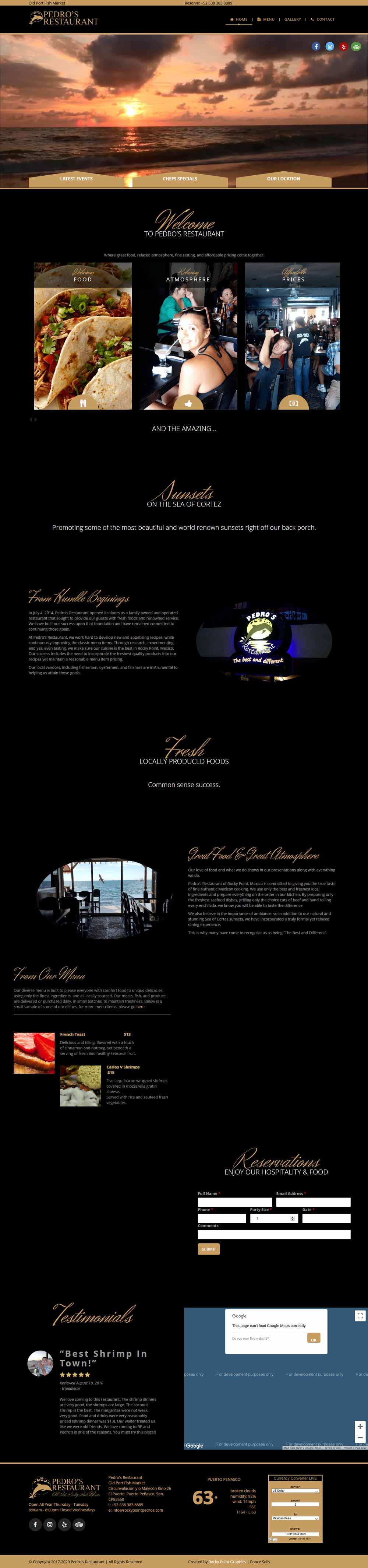 Pedro's Restaurant in Puerto Penasco (Rocky Point Mexico). Click here to visit Pedro's website.