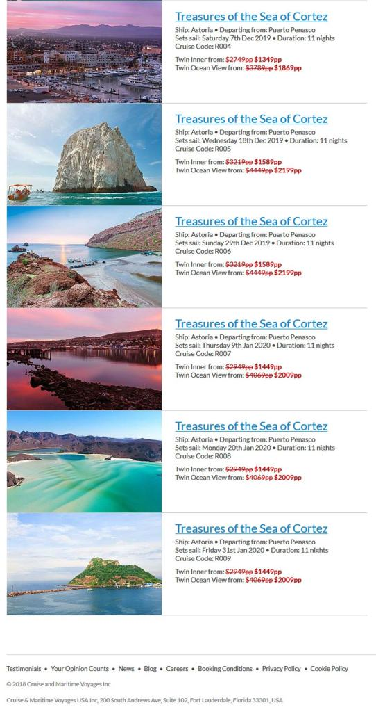 Cruise and Maritime Voyages, Cruise List that is Now Departing from Puerto Penasco (Rocky Point Mexico). Click here to visit their website.
