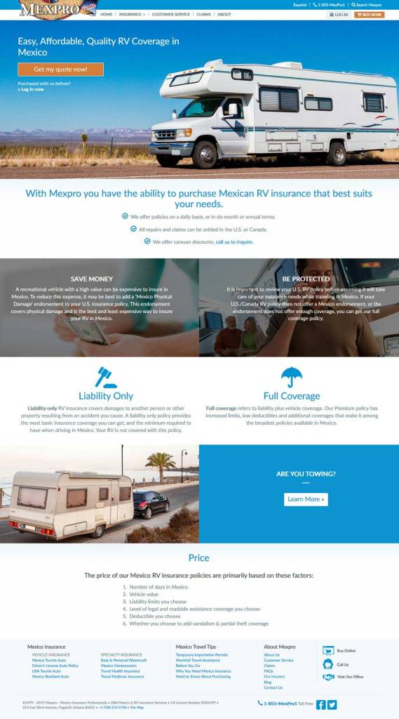 Mexican RV Insurance in Puerto Penasco (Rocky Point Mexico). Click here to visit MexPro's Mexican Insurance website.